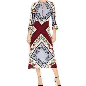 Sandro Steffie Floral Square Print Silk Midi Dress